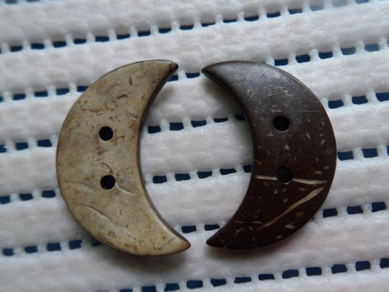 Botones hermosos de la ropa de la luna botones de lujo naturales de la cáscara del coco de lujo