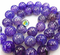 Wholesale Dragon Vein Agate Purple - Free shipping 8-14mm DIY natural purple dragon Veins Agate Round loose Beads AAA quality 200pcs lot