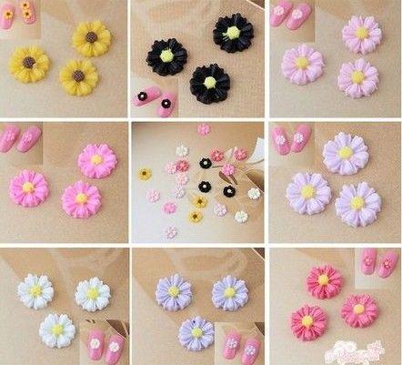 Bela Encantadora Mix 3D Color Resina Flores De Nail Art DIY Decoração