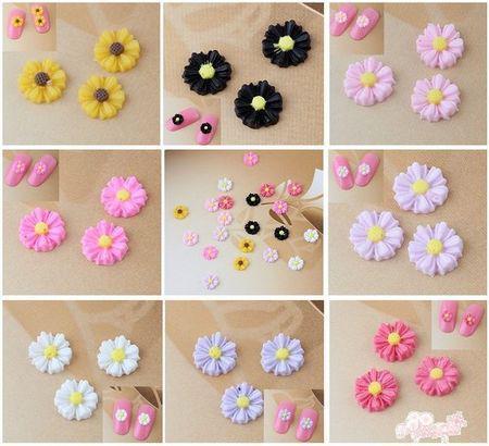 240 Pcs Bela Encantadora Mix 3D Color Resina Flores De Nail Art DIY Decoração