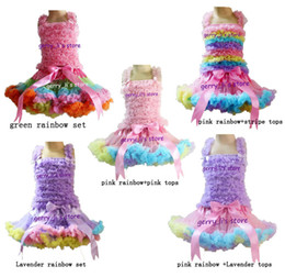 Wholesale Girls Petti Skirt Sets - Wholesale Girls Pettiskirt Set Children Baby Rainbow TUTU Skirts And Petti Tops Kids Clothing 5 set
