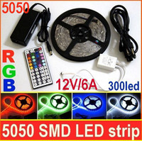 Livraison par DHL SMD 5050 RGB 300 LED Strip Light 5m Waterproof IP65 + 44key Télécommande IR + 12V 6A alimentation