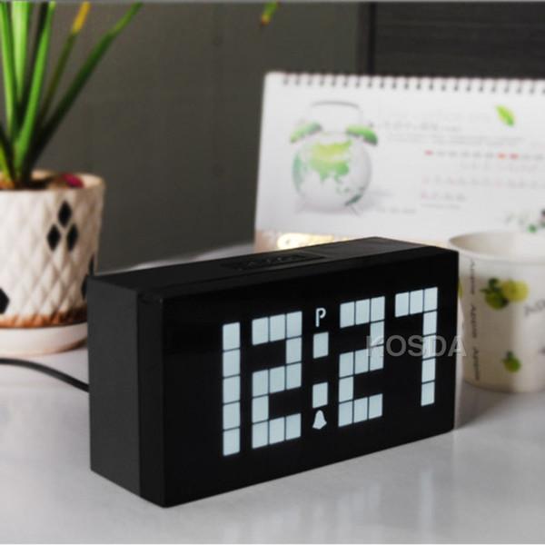 Белый свет светодиодные цифровые часы электронные настенные часы спальня повтор будильник календарь и температура Настольные часы