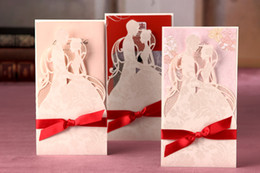Wholesale Invitation Card Groom Bride - Bride and groom hollow out Invitation card Wedding Invitations come envelopes sealed card 50pcs lot