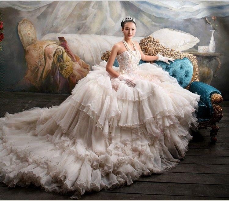 Discount new super luxury fluffy wedding dress strapless for Super cheap wedding dresses