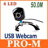 Wholesale Digital Usb Pc Mic - USB 2.0 50.0M 4 LED PC Camera HD Digital Webcam Camera Web Cam with MIC for Computer PC Laptop