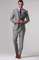 Wholesale Groom Waistcoat Tie - 2 Buttons Double Vent Groom Tuxedos Notch Lapel Groomsman Suits (Jacket+Pants+Tie+Waistcoat) G711