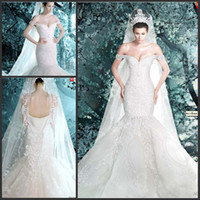 cathedral train wedding dress luxurious with best reviews - Luxurious Michael Cinco Mermaid Wedding Dress Off Shoulder Hand Made Pearls Beading Embroidery Mermaid Wedding Gowns 2015 in Dubai