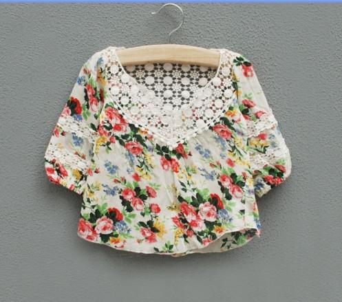 Baby Girl Kids Lace Floral Crochet Flower Shirt Tops Blouse T Shirt