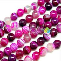 Wholesale Pink Agate Gemstone Beads - Free shipping 8-14mm DIY natural stripe rose pink Agate gemstone Round loose Beads 200pcs lot