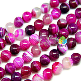 Wholesale Pink Agate Gemstone Beads - Free shipping 8-14mm DIY natural stripe rose pink Agate gemstone Round loose Beads 200pcs lot