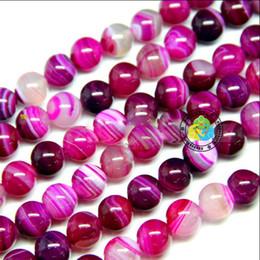 Wholesale Round Gemstone Beads 14mm - Free shipping 8-14mm DIY natural stripe rose pink Agate gemstone Round loose Beads 200pcs lot