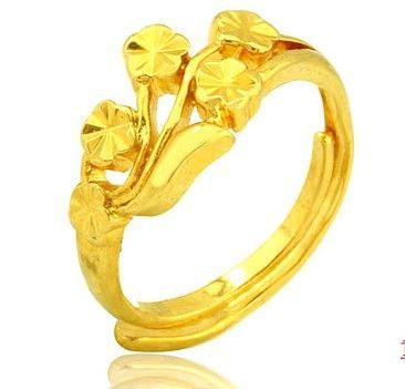 18 Gold Rings Five Flower Opening Ring Female Models Wedding Ring