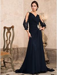 Wholesale Navy Blue Chiffon V Neck Evening Dresses Party Dresses Pageant Prom Dress Custom SZ HE314021