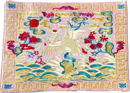 Wholesale Placemats Embroidered - Vintage Party Placemats Design Silk Fabric Embroidered Crane Dining Room Table Mats 2pcs pack Free