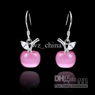White Gold Stud Earrings Women 925 Sterling Silver Earrings Dangle Opal Apple Pendant With Swiss Crystal Pink/White Free Shipping