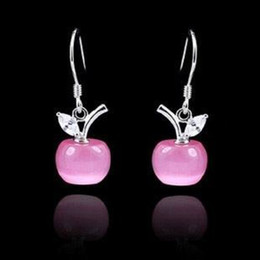 Wholesale Gold Apple Pendant - White Gold Stud Earrings Women 925 Sterling Silver Earrings Dangle Opal Apple Pendant With Swiss Crystal Pink White Free Shipping