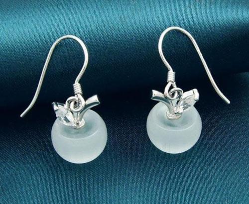Brincos de garanhão de ouro branco Mulheres jóias de casamento 925 Brincos de prata esterlina Dangle opal pingente com cristal suíço rosa / branco frete grátis
