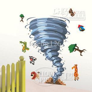 Removable Boy Room Tornado 50x70cm Wall Sticker Art Mural