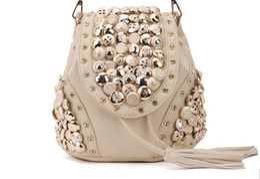 Wholesale Fox Backpacks - Jade Fox Handbags Backpack Shoulder Tote Bags Lady Button Rivets 2Colors PU 1PCS Lot Free Shipping
