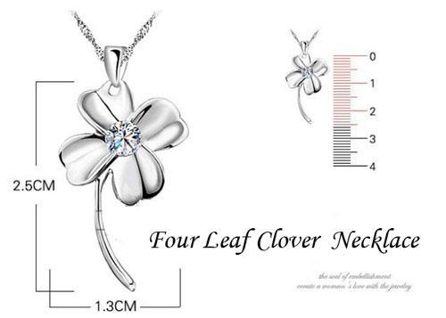Quatro folhas trevo pingente 925 Colar de prata esterlina 25 * 13mm ametista cristal pingente colar mulheres jóias moda novo