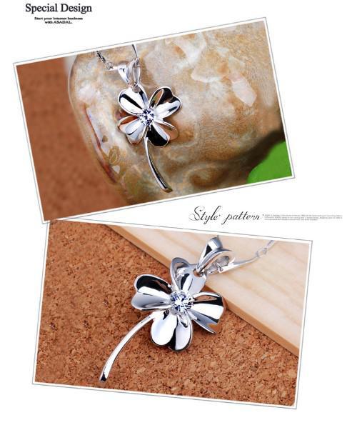 Collier en argent sterling à quatre feuilles Pendentif 925 * 13mm améthyste cristal pendentif collier femmes bijoux mode nouveau