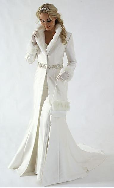 New White Winter Wedding Dress Cloak Chapel Train Satin Long Sleeve