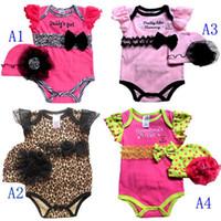 Wholesale Nb Design - NB Girl 2pcs sets Leopard Bodysuit & Hat overalls Zebra Lace rompers Jumpsuits U Pick Size Designs