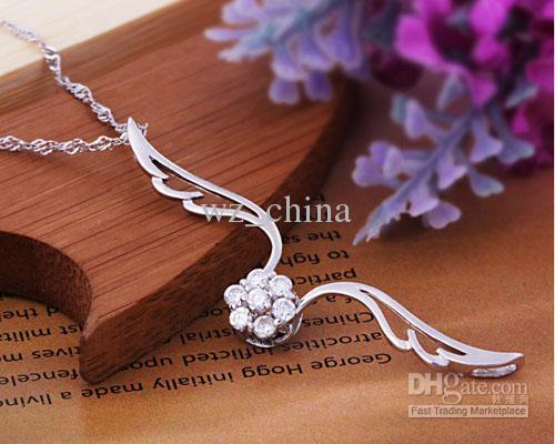 Donne delle donne della collana dell'anello dell'anello del pendente dell'argento sterling del 30% 925 con la moda di cristallo austriaco Nuovo stile coreano / Trasporto libero