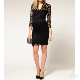 Wholesale Dresses Scalloped - New Women Lace Mini Dress Scalloped V-Neck elegance Ladies Sexy 3 4 Sleeve Cocktail Dress mix order