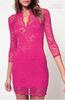 New Women Lace Mini Dress Scalloped V-Neck elegance Ladies Sexy Slim 3 4 Sleeve Cocktail Dress rose