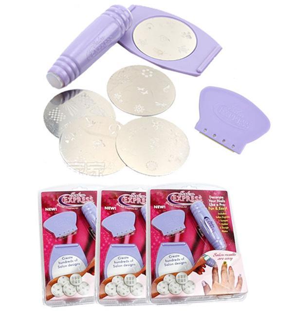 Nail Art Stamping Kit Salon Express Printing Stickers Nail Wraps Scraper Diy Nail Tools Nail Art
