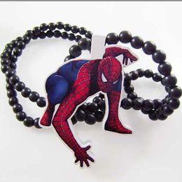 Wholesale Good Wood Necklaces Nyc - Spiderman Good Wood NYC Hip-Hop Wooden Fashion Men Dancer Necklace Wholesale