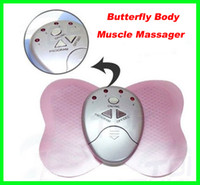 Wholesale Mini Massager Butterfly - Best price 100pcs lot Mini Electronical Slimming Butterfly Body Muscle Massager Slim Relex