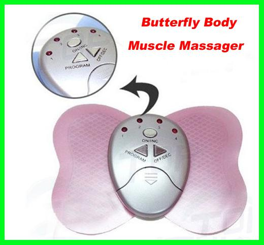 Best price 100pcs/lot Mini Electronical Slimming Butterfly Body Muscle Massager Slim Relex