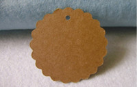 Wholesale Paper Flower Art - Kraft Paper Blank price Hang tag Retro Round Flower shape Gift Hang tag message cards Kraft tags