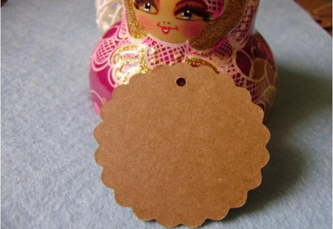 Kraft Papel em branco preço Pendurar tag Retro Rodada Flor forma Presente Pendurar tag mensagem cartões Kraft tags