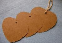 colgar etiquetas colgadas al por mayor-Etiqueta de regalo con forma de corazón en blanco de papel Kraft Etiqueta colgante retro (cadena incluida) 500pcs / lot