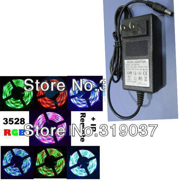 Bande lumineuse flexible 3528 SMD 60LED / M non étanche DC 12V + Télécommande IR + Alimentation
