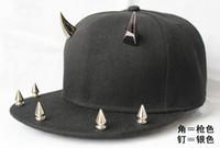 Wholesale Spiked Hip Hop Snapback - Men Solid Color Ball Hats Horn Snapback Caps Punk Style Hip-hop headwear Spike Studs Hats Rivet CapAdjustable Baseball Cap