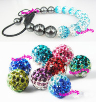 Wholesale Disco Ball Tone - Equilibrium Jewelry 10mm Gradient Color CZ Crystal Disco Ball Two Tone Shamballa Bracelet Mixed