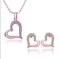 Wholesale Czech Diamond Heart Pendant - Plated 18K rose gold inlay Czech diamond heart pendant necklace & stud earrings Fashion Jewelry Set