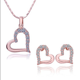 Wholesale Rose Gold Necklace Set Heart - Plated 18K rose gold inlay Czech diamond heart pendant necklace & stud earrings Fashion Jewelry Set