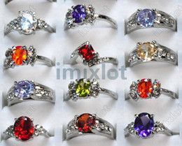 Wholesale Wholesale Cz Wedding Rings - Zircon Rings~! 16-20MM Wholesale Lots 50pcs Charming CZ Rings Silver Plated Crstal Wedding Rings Hot [CZ32*50]