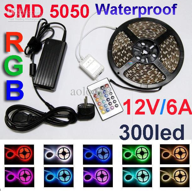 Multi color 5050 smd rgb led strip light 300 led waterproof 12v multi color 5050 smd rgb led strip light 300 led waterproof 12v 6a power supply 24 keys ir remote led rgb strip uv led strip from aolongli mozeypictures Images