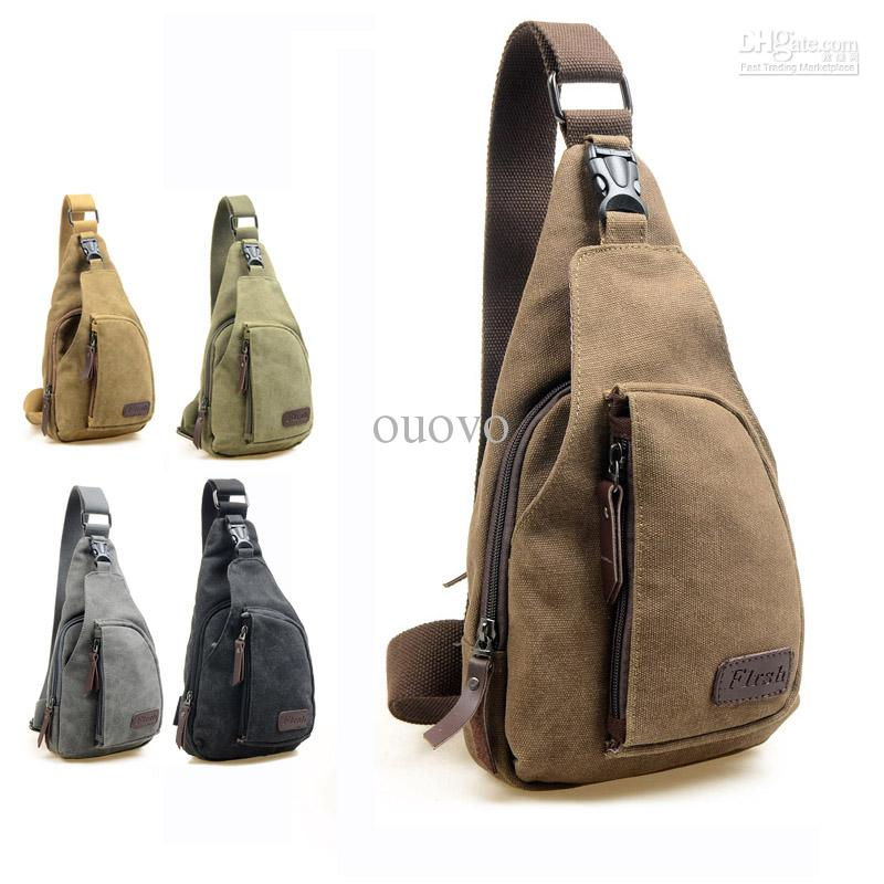 New Fashion Men'S Canvas Unbalance Chest Bag Mini Size Women'S ...