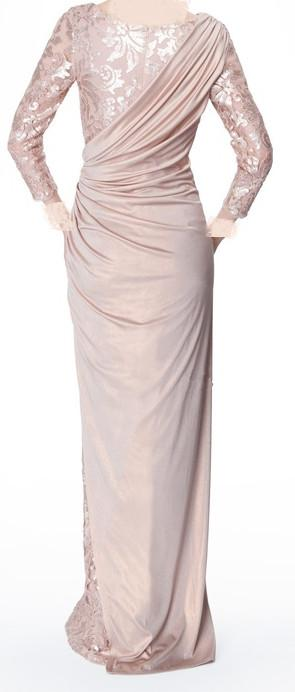 Sexy Long Sleeves Chiffon Jewel Lace Pearl Pink Ruffle Evening Dresses Mother of the Bride Dress 339