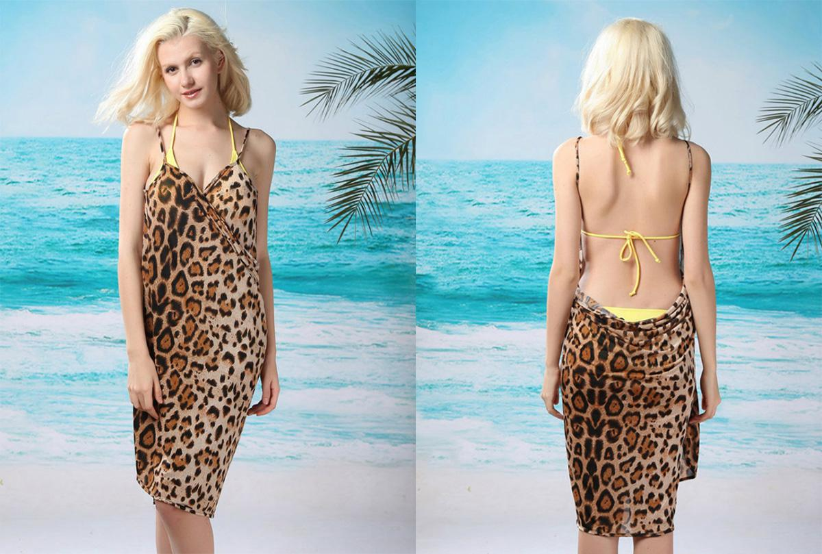 Elastic Ice Silk Leopard Swim Coverup Wrap Skirt Swimwear Sleeveless Low-cut Halter Beach Dress Swimwear Sling Holiday Beach Towels FZ0036