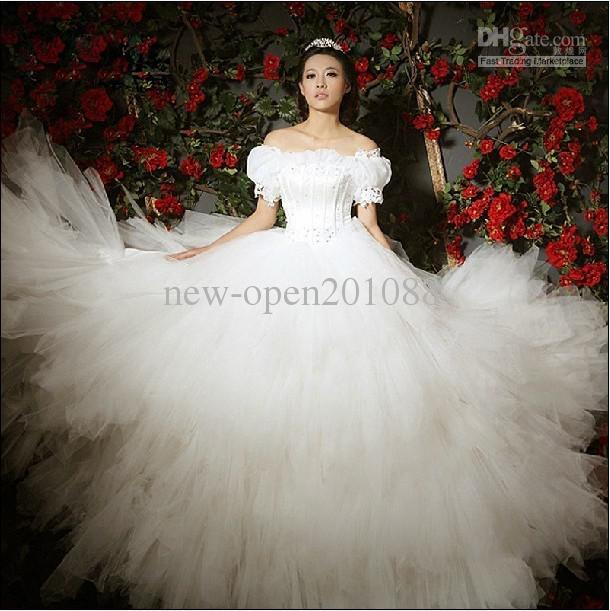 Discount New Sexy Bubble Sleeves Word Shoulder Wedding Dress Beading Fluffy Bride High Street Dresses From