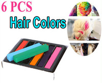 Wholesale Hair Chalk Wholesaler - 6Pcs Fashion Non-toxic Temporary Color Hair Chalk Dye Pastels 5 sets lot,Free Shipping Dropshipping